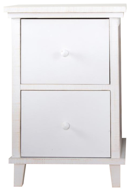 Fiord Bedside Table, White, 2 Drawers