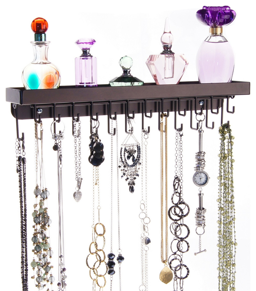 Wall Mount Necklace Holder Storage Rack Hanging Jewelry Organizer Schelon Contemporary Jewelry Boxes And Organizers By Angelynn S