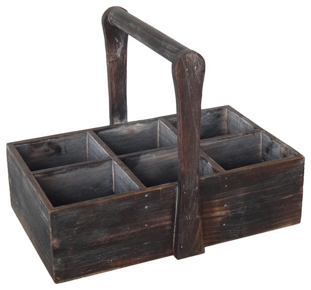 6-Slot Wood Caddy With Raised Handle.