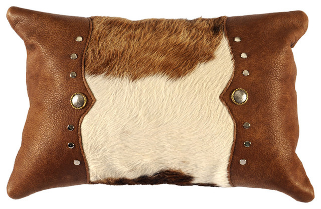 Tulsa leather hair on hide pillow 12x18 with fabric back - Fabric for throw pillows ...