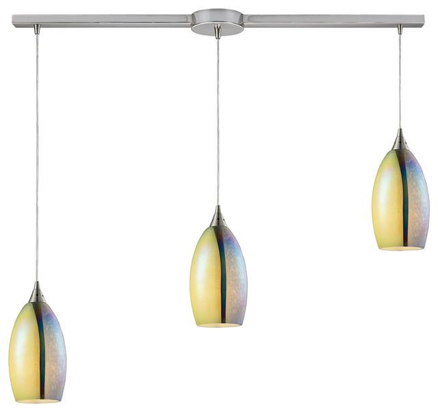 Elk Lighting 31495 3l Horizon Satin Nickel Linear Pendant
