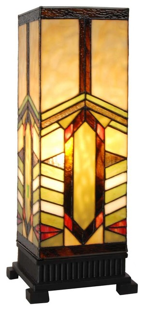 """17"""" Stained Glass Mission Style Stone Mountain Pillar Table Lamp, Amber"""