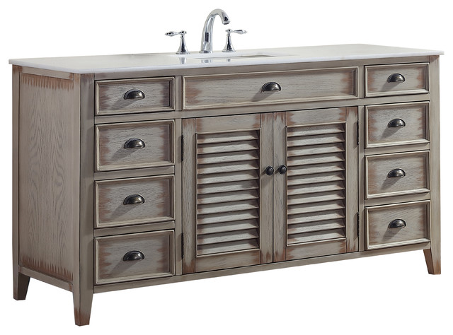 Palm Beach Cottage Look Single Bathroom Vanity Distressed Beige 60