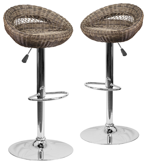 Admirable Wicker Rounded Back Adjustable Height Bar Stools With Chrome Set Of 2 Squirreltailoven Fun Painted Chair Ideas Images Squirreltailovenorg