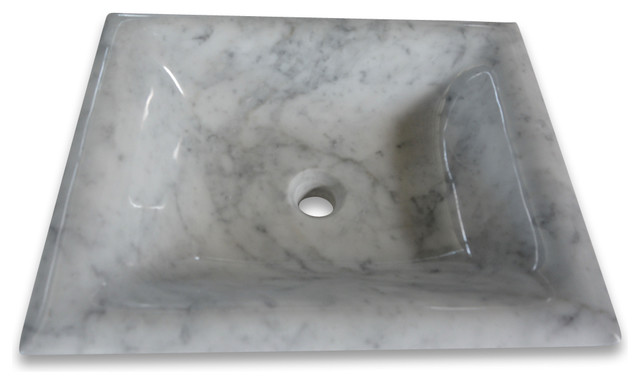 Carrara White Marble 20 Rectangular Vessel Basin Sink Polished.