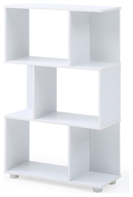 Modern Staggered 3-Shelf Manor Bookcase, White
