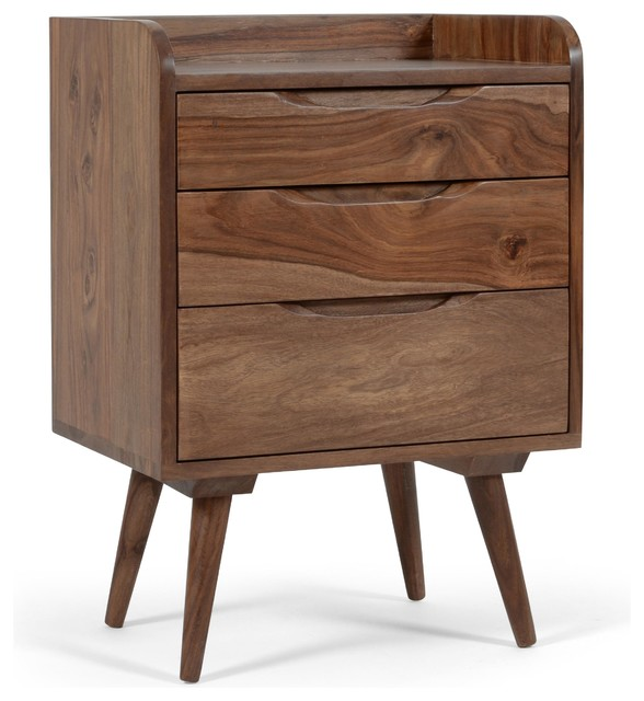 Larsson 3-Drawer Nightstand For Bedroom, Rosewood. -1