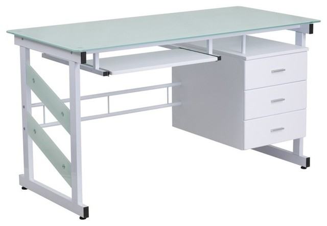 Flash Furniture 3 Drawer Glass Top Computer Desk, White  Contemporary Desks And