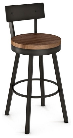 Swivel Stool With Metal Backrest N Woodseat, Counter Height