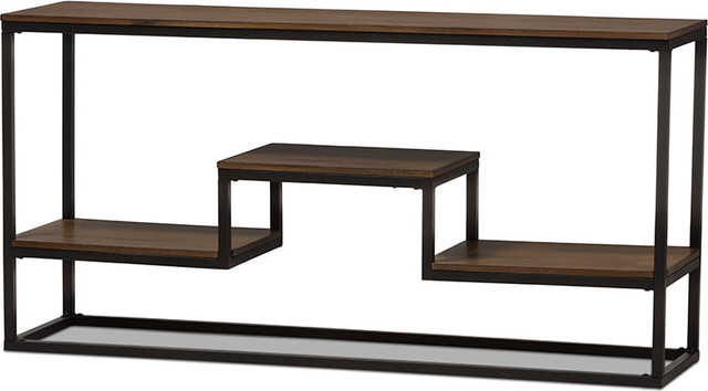 Antique Black Textured Finished Metal Distressed Wood Console Table