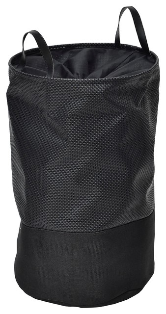 Evideco Pop-Up Collapsible Laundry Hamper With Closing Mesh , Black.