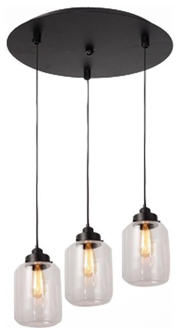 3 Lights Vintage Glass Mason Jar Pendant Lamp Light Chandelier Industrial