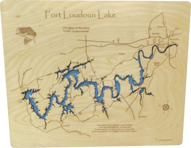 fort loudoun lake map Fort Loudoun Lake Tennessee Wood Lake Map Rustic Wall Accents fort loudoun lake map
