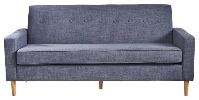 GDF Studio Stratford Mid Century Modern Fabric 3-Seat Sofa, Dark Blue