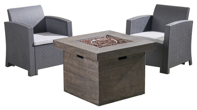 Remarkable Gdf Studio Ollie Outdoor For 2 Wicker Club Chair Chat Set With Fire Pit Dailytribune Chair Design For Home Dailytribuneorg