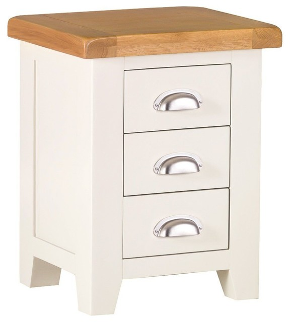 26d39167453e Padstow Ivory Painted Oak Small 3-Drawer Bedside Table - Country -  Nightstands And Bedside Tables - by The Furniture Outlet