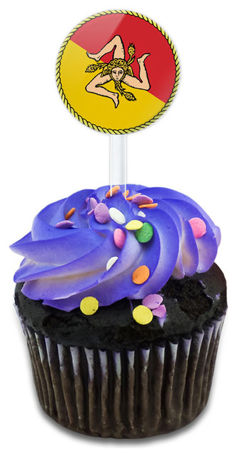 Flag Of Sicily Cupcake Toppers Picks Set.