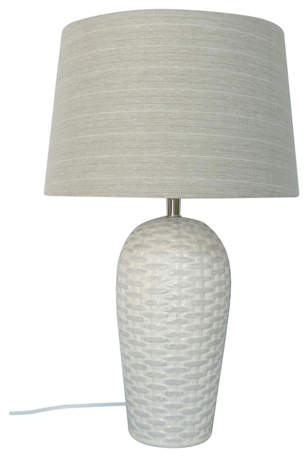 Ceramic Knit Texture Table Lamp, White Textured Base With Gray Linen Shade  Tropical Table