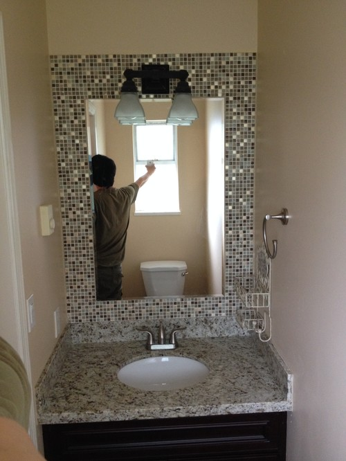 mosaic tile bathroom mirror build a mosaic tile mirror in the small bathroom 19665