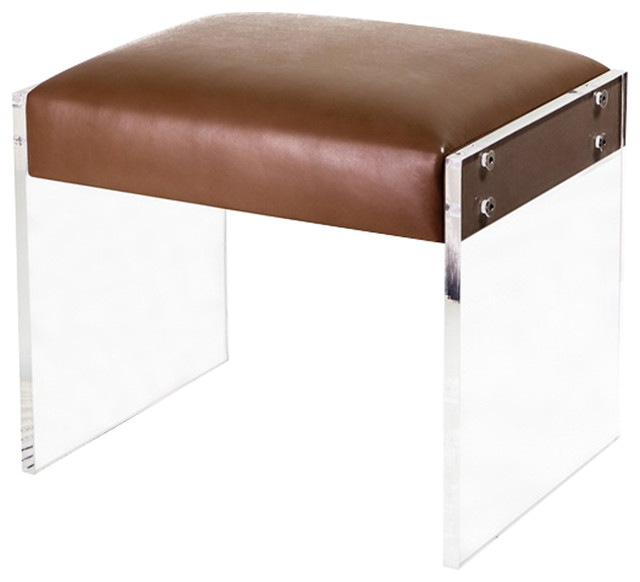 Interlude Interlude Home Aiden Leather Stool Vanity