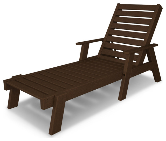 Polywood Captain Chaise with Arms, Mahogany