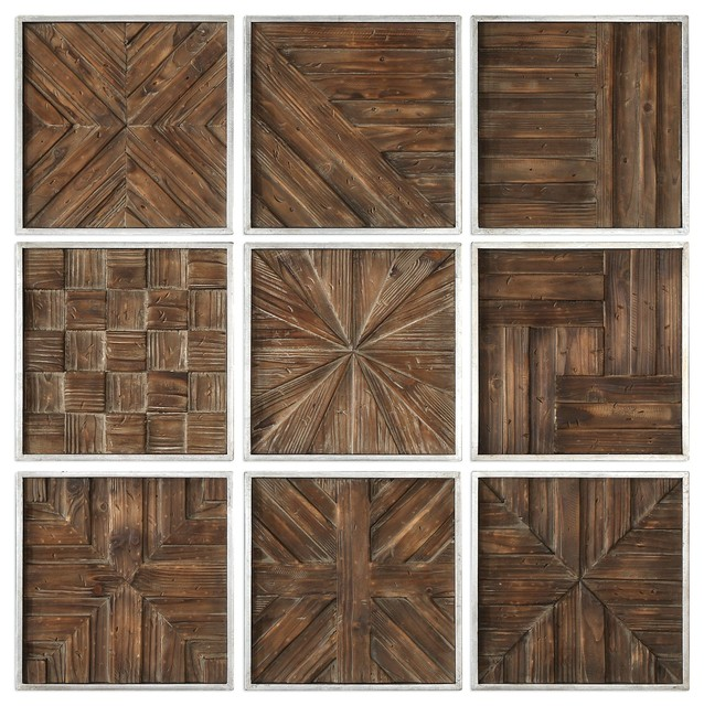 Rustic Wood Panel Wall Art Collage Set Of 9 Square