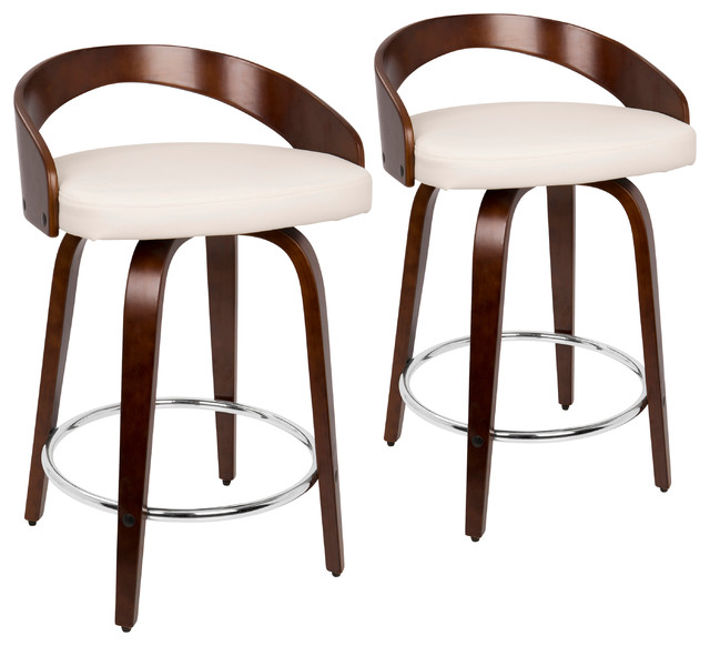 Grotto Counter Stools With Swivels, Set of 2, Cherry Wood, White, Pu, Chrome