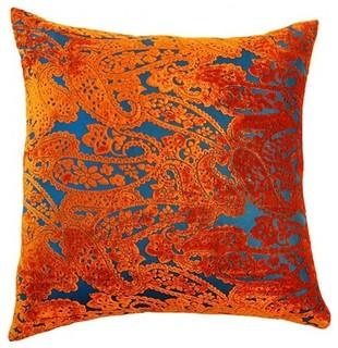 Blanco Orange Paisley Pillow