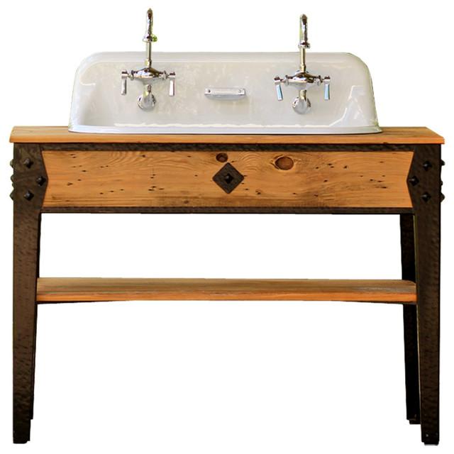 48u201d Reclaimed Wood Iron Farm Double Bath Vanity Craftsman Trough Farm Sink  Industrial Bathroom