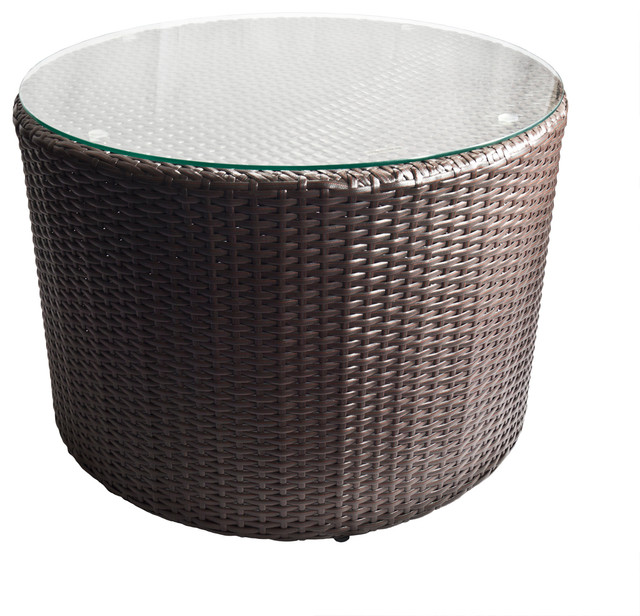 Outdoor Wicker Round Coffee Table With Glass Top Contemporary Outdoor Coffee Tables By