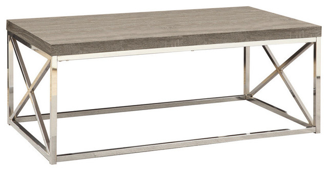 Monarch Specialties Reclaimed-Style Coffee Table contemporary-coffee-tables - Monarch Specialties Taupe Reclaimed-Look/Chrome Metal Cocktail