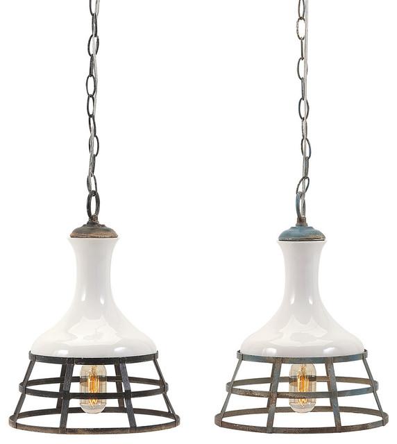 Sandra Ceramic And Metal Pendant Lights, Set Of 2.