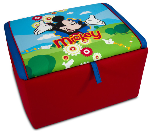 Disney Mickey Mouse Clubhouse Upholstered Storage Box  contemporary-kids-storage-benches-and - Disney Mickey Mouse Clubhouse Upholstered Storage Box