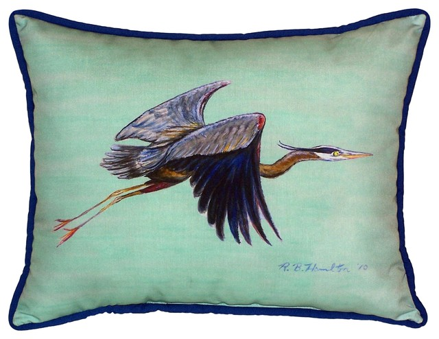 Flying Blue Heron Teal Large Outdoor Pillow