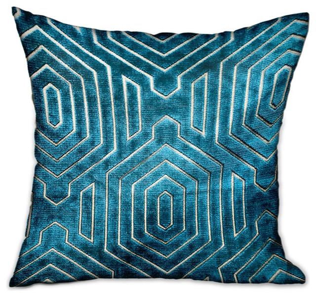 "Cerulean Velvet Blue Geometric Luxury Throw Pillow Double Sided, 24""x24"""