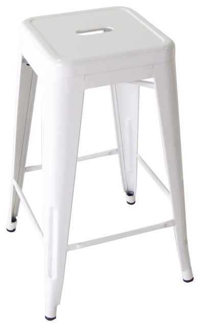 Bouchon French dustrial White Backless Cafe Barstool Set of 4 industrial -bar-  sc 1 st  Houzz & Bouchon French
