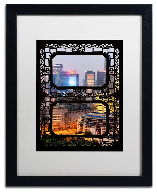 """Philippe Hugonnard 'Shanghai Night' Art, Black Frame, White Matte, 20""""x16"""""""