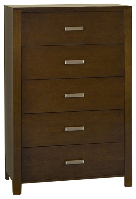 Modus Riva Five-Drawer Chest In Chocolate Brown.