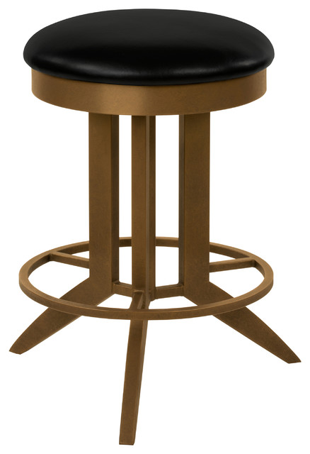 Cambridge Backless Swivel Barstool Black Faux Leather And Copper Bisque 26