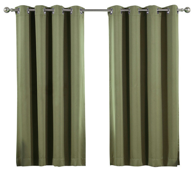 Solid Blackout Single Panel Silver Grommet Top Curtain, Olive.