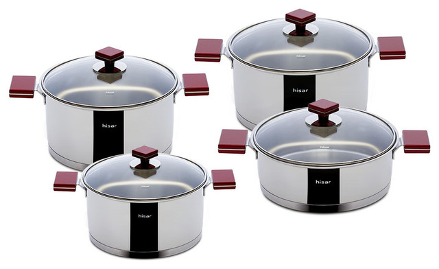 8-Piece Stainless Steel Cookware Set, Red.