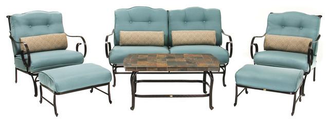 Oceana 6-Piece Patio Set, Ocean Blue With Stone-Top Coffee Table