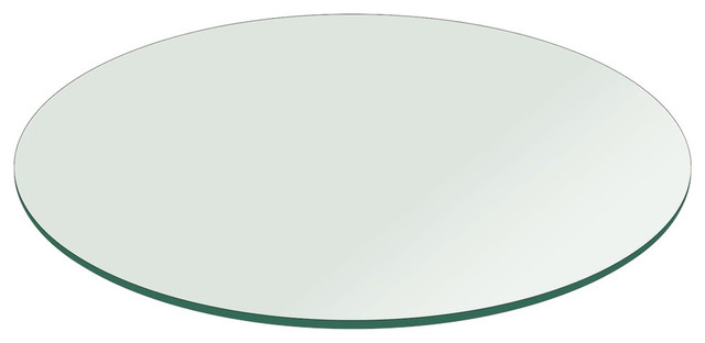 Round 1/2&x27;&x27; Thick Flat Polished Tempered Glass Table Top, 60.