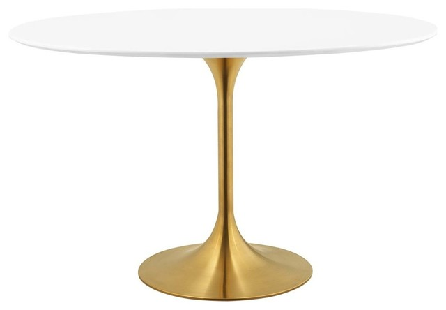 """Lippa 48"""" Oval Dining Table, Gold"""