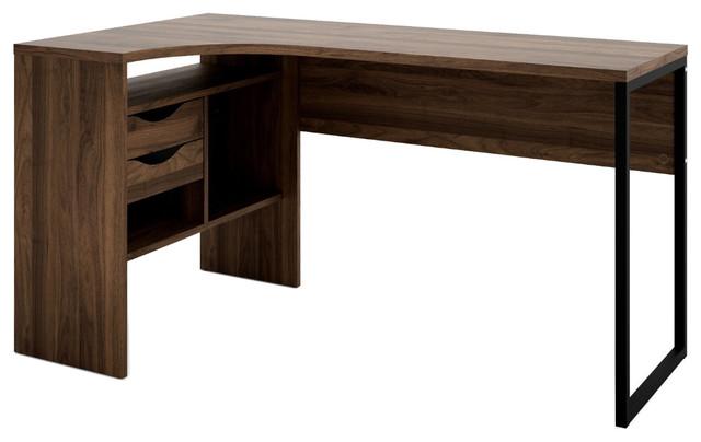 2-Drawer Desk, Walnut.