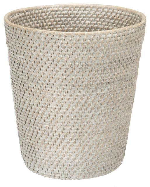 Waste Baskets Pleasing Round Rattan Wastebasket Whitewash  Beach Style  Wastebaskets Inspiration