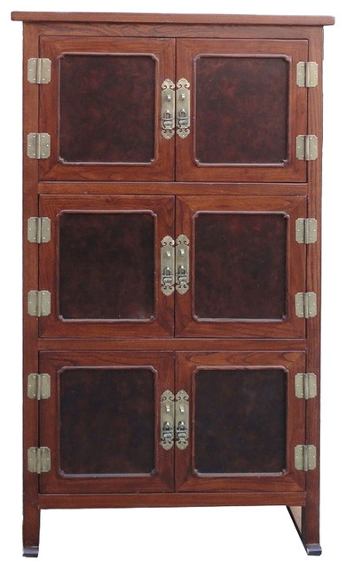 Tall Korean Burl Wood Inlay Multiple Shelves Storage Cabinet