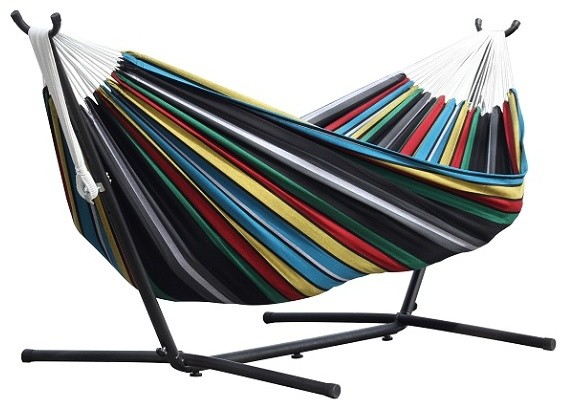 Vivere&x27;s Combo, Double Rio Night Hammock With Stand, 9&x27;