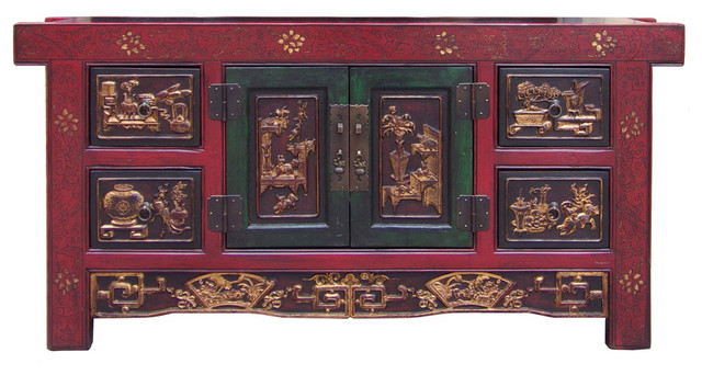 Chinese Carving Panel Rustic Red Low TV Console Cabinet Hcs1517