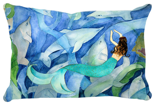 Mermaid Art Lumbar Throw Pillows From Art, Dolphins And Mermaid Party.